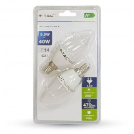 LED Bulb - 5.5W E14 Candle White 2PCS/PACK