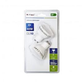 LED Spotlight - 6W GU10 SMD White Plastic, Warm White 2PCS/PACK