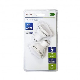 LED Spotlight - 6W GU10 SMD White Plastic, White 2PCS/PACK