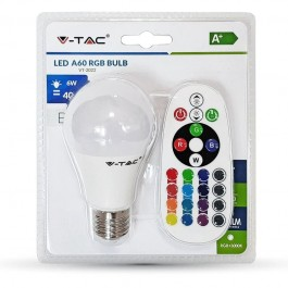LED Bulb - 6W E27 A60  RGB With Remote Control, Warm White Blister Pack