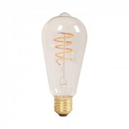 Spiral Filament LED Bulb - 4W ST64 E27 Amber Warm White