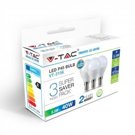 LED Bulb - 5.5W E14 P45 Natural White 3PCS/PACK
