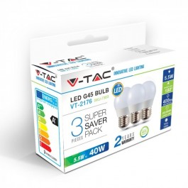 LED Bulb - 5.5W E27 G45 White 3PCS/PACK