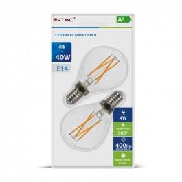 LED Bulb - 4W Filament E14 Cross P45 Clear Cover Warm White 2PCS/Blister Pack