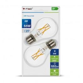 Filament LED Bulb - 6W E27 A60 Warm White 2PCS Blister Pack