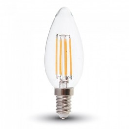 LED Bulb - 6W Filament E14 Clear Cover Candle Natural White