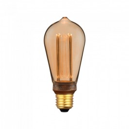 LED Bulb - 4W ART Filament Candle E27 ST64 Amber Glass 1800K±200K