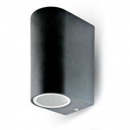 Wall Sleek Wall Fitting GU10 Aluminium Round Black 2 Way IP44