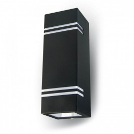 Wall Sleek Wall Fitting GU10 Square Black 2 Way IP44