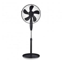 55W Stand Fan Round Base 5 Blades 3 Speed Black