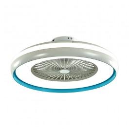 45W LED Box Fan Ceiling Light RF Control 3 in 1 Motor Blue Ring