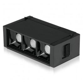 3 x1W LED Magnetic SMD Linear Spotlight Black IP20 24V 3000K