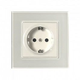 EU Socket 16A Glass Panel Single White