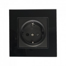 EU Socket 16A Glass Panel Single Black