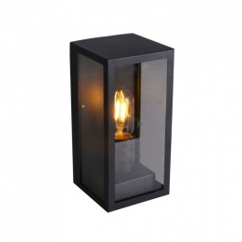 Wall Lamp 1*E27 Matt Black Clear Glass
