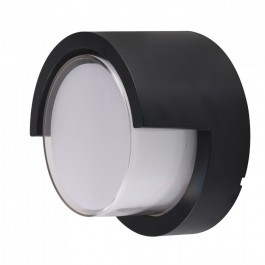 12W LED Wall Light Sami-Frame Black Round 4000K
