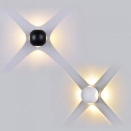 4W LED Wall Light Black Body Round 3000K IP65