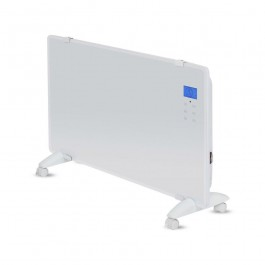 2000W LED Glass Panel Heater with Aluminium Heating Element White IP24 RF Control Display & Wheels