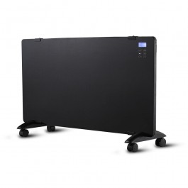 2000W LED Glass Panel Heater with Aluminium Heating Element Black IP24 RF Control Display & Wheels