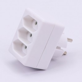 3 Outlet Adapter 2.5A White Label + Poly Bag