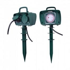 2 Ways Garden Spike Socket Mechanical Timer 3G 1.5mm x 3m IP44 Green