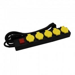5 Ways Socket Lighted Switch 3G 1.5mm x 3m IP44 Black & Yellow