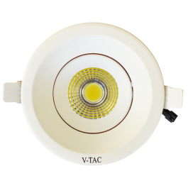 8W LED Downlight COB Round - White Body, White